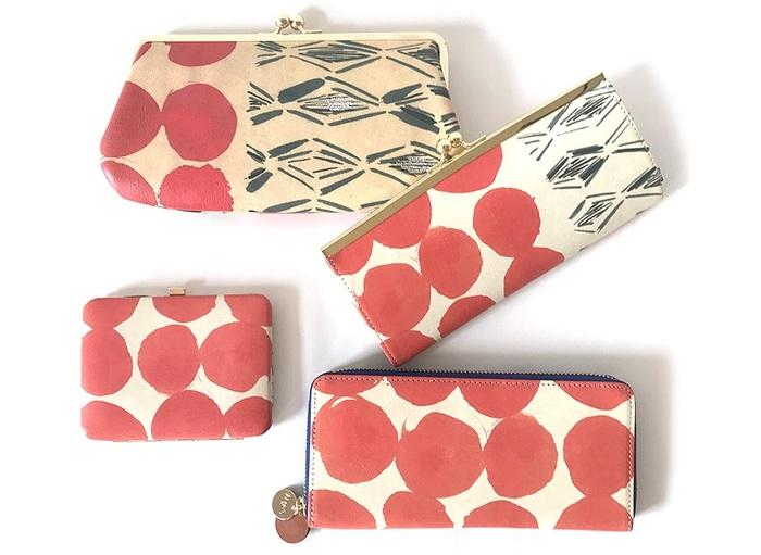 上から、がま口長財布(大)、 がま口長財布、口金カードケース、Lファスナー長財布。この他に薄型二つ折り財布も。