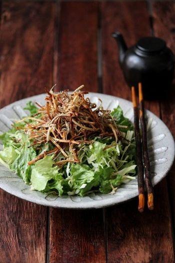 【パリパリごぼうとしらすの和サラダ】 葉野菜もごぼうもパリパリ食感豊かにいただける和風のサラダ。しらすやかつお節が入ることで味にメリハリがつき、たくさんの野菜も飽きずに食べることができますよ。
