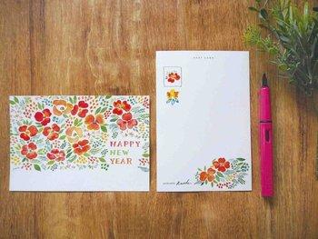 大人の可愛さが散りばめられた素敵な年賀はがき。余白部分に心を込めてメッセージを書くだけで、センス抜群の年賀状に。