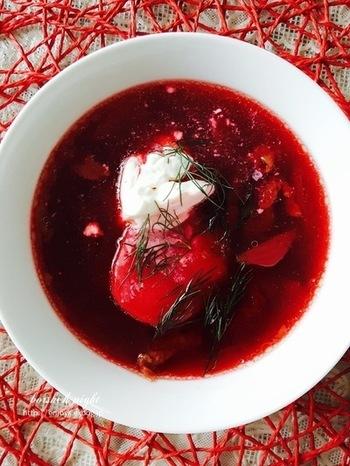 綺麗なレッドが情熱的で心が踊る、寒い地方ロシアの代表料理ボルシチ。ビーツ独特の甘さとサワークリームの爽やかさが美味!