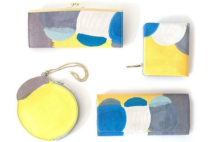 左上:がま口長財布、右上:スクエア型ミニ財布、左下:コイン&パスケース、右下:被せ長札。