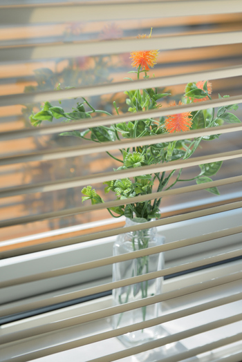 ブラインドの方がカーテンよりもスッキリとした印象になるのと、上下に開くものであれば下だけを開けて窓の外を眺めることができるのでおすすめです。