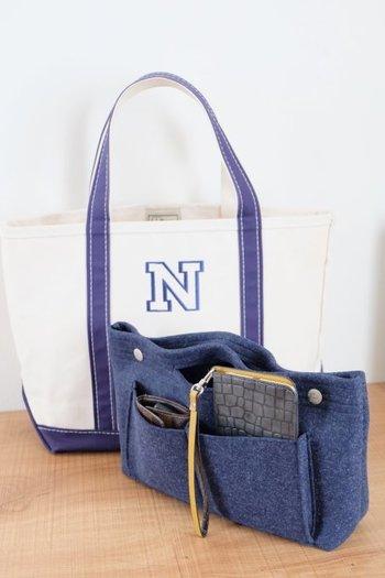 トートバッグをうまく使いこなすには、バッグインバッグかあるととても便利です。これなら大きな空間でも中身の定位置が作りやすいですね。