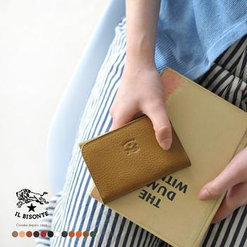 マチがあって、名刺をたくさん収納できるのにすっきりとした薄型のデザインです。女性はもちろん男性への贈り物としても喜ばれそうです。