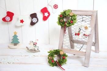 手のひらサイズのクリスマスのミニリース。雑貨と組み合わせて、可愛らしくディスプレイしてみては!こちらのリースは、プリザーブドフラワーで出来ているので、お水などのお手入れも必要無く、楽チンで飾れちゃいます。