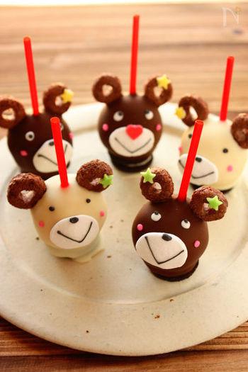 子どもの誕生日会やキッズメインのイベントには、こんなキュートなケーキポップが場を盛り上げてくれます。みんなでわいわい一緒に作っても楽しいですね。