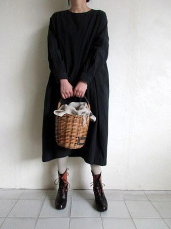 いつでも一緒に♪「ebagos(エバゴス)」のかごバッグと冬コーデ