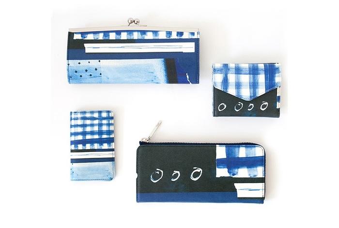 上から、がま口長財布、三つ折り財布、極薄名刺入れ、Lファスナー長財布。