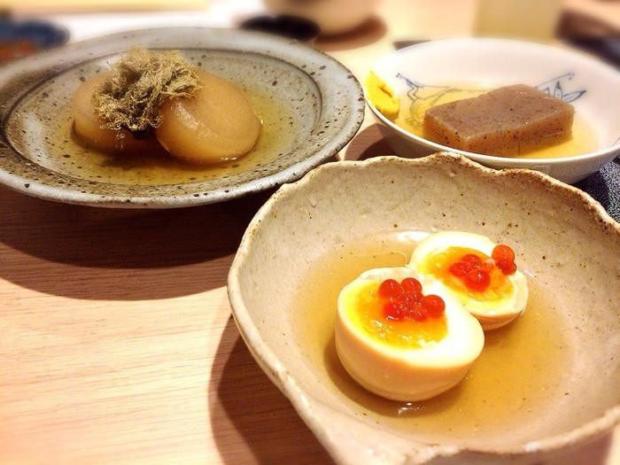 定番の「卵」や「こんにゃく」も丁寧な仕事が光る味。どのおでんもゆっくりと味わいたいものばかり。