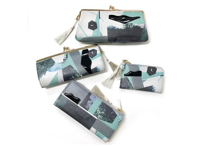 上から、口金長財布、くし型口金口金長財布、マルチケース、Lファスナー長財布。