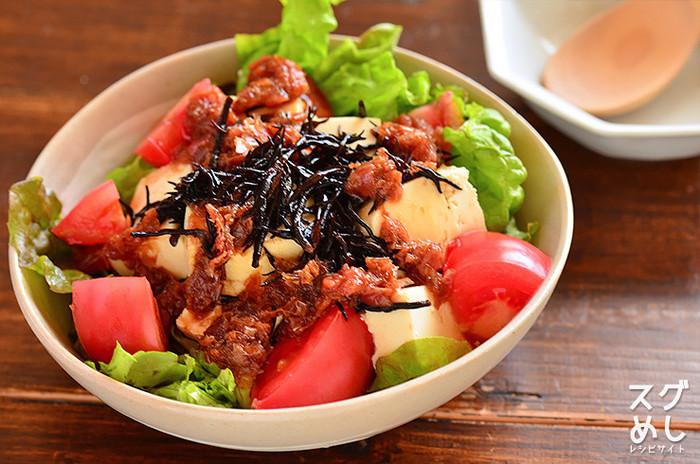 ■ ひじきと豆腐の梅おかかサラダ サラダにお豆腐を入れるとご馳走になりますね。ポン酢に梅干しとかつお節を入れてドレッシングにしていますが、胡麻ドレッシングなどでも合いそうです。