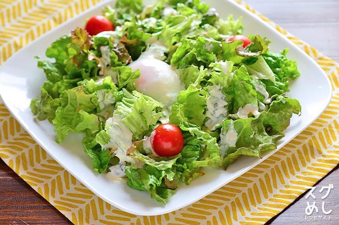 ■ お手製シーザーサラダ カレーにはレタスメインのサラダが合いますね。シーザードレッシングも手作りしちゃいます。