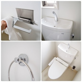 タオルを取り換える時には、ついでに手洗い器やペーパーホルダーの上などのホコリもふき取ってしまいましょう。掃除の為だけに何度も足を運ぶことなく、家事の時短に繋がります。