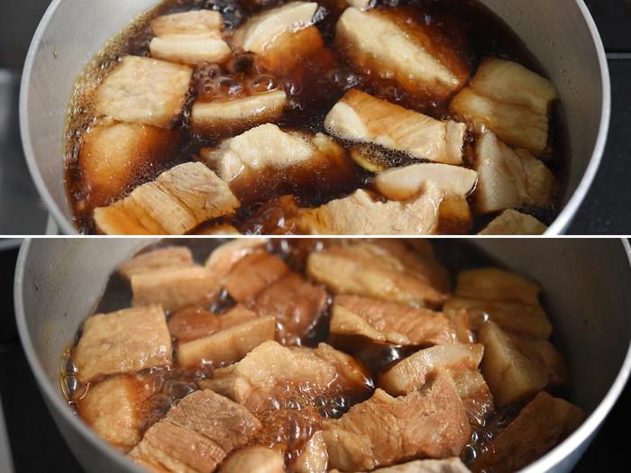 水と醤油、酒、砂糖を合わせた漬け汁に、下茹でした豚肉とスライスした生姜を加え火にかけます。 弱めの中火で30分コトコトと煮たら、火からおろして一度完全に冷まします。冷めるときに味がしみ込むので、もうしばらく我慢して。美味しく仕上がるのを楽しみに待ちましょう。