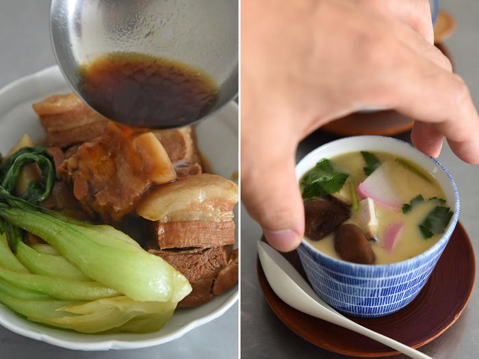 角煮は彩り良く盛り付けて煮汁を上からたっぷりと。茶碗蒸しは蕎麦猪口の下に茶たくを敷くと、より丁寧な雰囲気で気分も上がりそう。茶たくの代わりに小皿を使うときは、滑らないようにキッチンペーパーなどを敷くのがおすすめです。