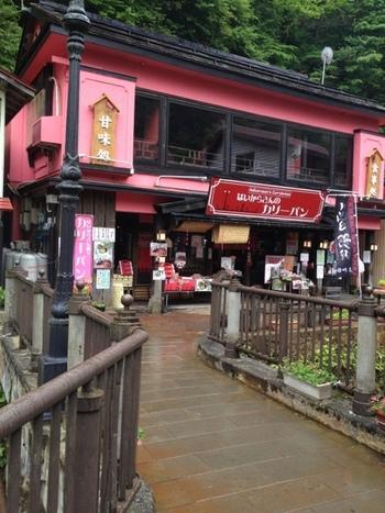 銀山温泉の温泉街の奥のほうにあるピンク色の建物が目印の「はいからさん通り」。