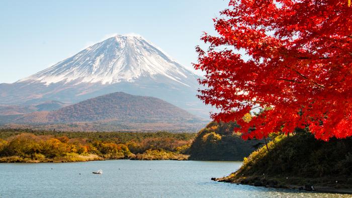精進湖(しょうじこ)は、富士五湖の中でもっとも湖水面積が狭い湖。ここから富士山を眺めると、手前の大室山(おおむろやま)を富士山が抱えるような景色になることから「子抱き富士」とも呼ばれ、人気のビューポイントです。