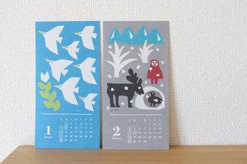 切り絵作家のYUYAさんによるイラストが可愛らしい、ポストカードより少し大きめのカードタイプです。 卓上だけでなく、壁に貼ってもいいですね。
