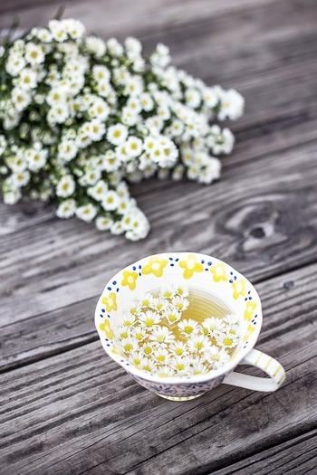 寝る前には、リラックスと冷え対策に良いといわれるノンカフェインの「カモミールティー」を飲むと心がほぐれます。のどが乾燥する場合は、さらにハチミツを加えるのがおすすめ◎