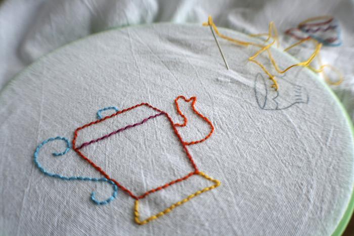 針を出して戻るように縫う、返し縫いと同じ要領のステッチが、バックステッチです。