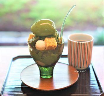 祇園エリアの老舗料亭として有名な「菊乃井」の新店としてオープンした「無碍山房 Salon de Muge(むげさんぼう サロンドムゲ)」。ここの「濃い抹茶パフェ」が絶品!
