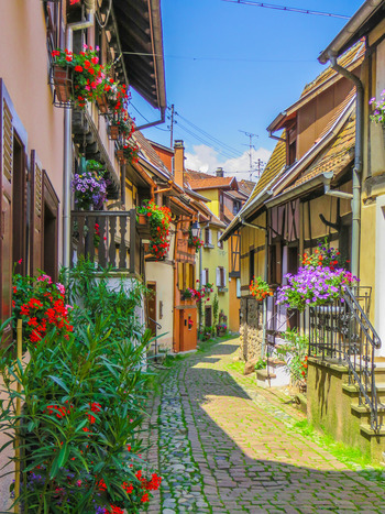 エギスアイムは、「フランスで最も美しい村」の一つで、1989年には、「フランス花のグランプリ」に選ばれており、2006年には「ヨーロッパ花の町のコンクール」で金賞に輝いた村です。花があふれる可愛らしい村の中は、まるで中世から時間が止まってしまったかのようです。