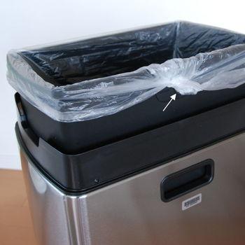 こちらは、そのシリーズの一つである「タッチバーカン」。内側のゴミ箱の側面には丸い穴があり、ビニール袋の余った部分を中に通してぴったりフィットさせることが出来ます。