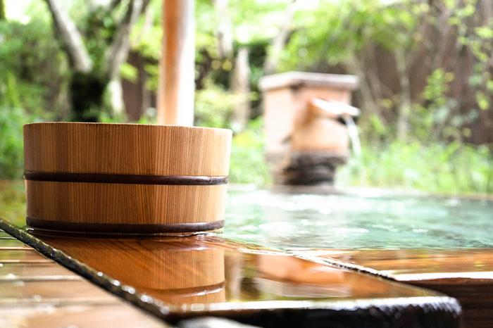客室は全17室のみ。かけ流しの木風呂が、旅の疲れをゆっくり癒してくれそう。また温泉だけでなく、地元の食材を使ったお鍋などお料理も堪能してみてくださいね。