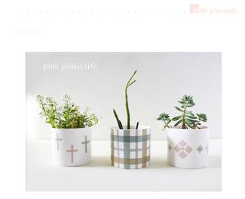 小さな白い植木鉢に、マスキングテープで模様を描くと可愛らしくお洒落に。