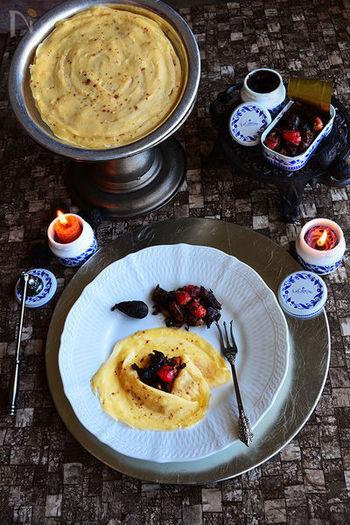 ラ・カンティーヌのサバ缶とソースを使って、おうちバルスタイル。サバのうまみとフルーツの爽やかさ、そしてクレープ生地の甘みがバランスよく調和した絶妙なおいしさ。お酒も進みます。
