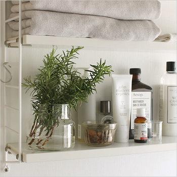 キッチンと並び、生活感のでやすい洗面所。身も心も整える場所であるからこそ、爽やかな空間にしたいですよね。 それなら、水差しのハーブを飾りましょう。タオルやハブラシなど日用品を置くスペースに置くだけで、洗練された印象に◎