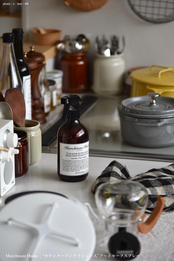 キッチン消毒用のスプレーって、意外と生活感が出てしまうモノ。見直したい方にはこんなオシャレな容器のものがおすすめです。 キッチンの雰囲気を一気に変えてくれる優れものですよ。