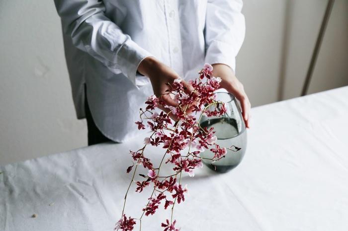 日々、茎を切り詰めていくうちに、花の丈が短くなったら、丈に合わせて花瓶を変えてみるのも◎。花が小さくなったらざっくりと切り詰めて小さめの花瓶に変えると花の印象も変わって長い間楽しめます。