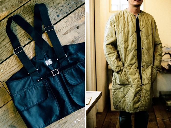 今季の新作「Hunting Vest」(写真左)と「Quilted No Collar Coat」(写真右)