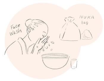 """「米ぬか」とは、玄米を精白するときに出る外皮の部分。私たちが食べている「白米」になる時点では捨てられてしまうものですが、外皮の部分にこそお米の栄養がぎゅっとつまっているんです!  白米を食べることが一般的になった江戸時代ごろから、日本の女性たちは「米ぬか」を美容のために使用していました。米ぬかで肌を磨いたり、米のとぎ汁で顔を洗ったり……。当時の浮世絵にも、銭湯に「ぬか袋」を持ち込み、体を洗う女性たちが描かれています。米ぬかには、よごれを取り除くと同時に肌本来が持つ""""うるおいを保つ""""脂質に似た働きがあるといわれているため、古くから日本人女性のスキンケアに取り入れられてきたのです。"""