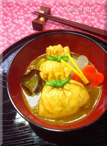 和風の出汁とカレーは、とても味わい深くて相性がいいですね。餅入りのふくさもボリュームがあって、朝ごはんにもおすすめです。