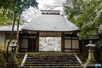 哲学の道を少し離れ、山へ向かって歩けば、法然院の茅葺きの山門が見えてきます。 雪の日にはうっすらと白く染まる山門が、奥へと誘います。  奥の菩提には谷崎潤一郎や河上肇など文人のお墓も。