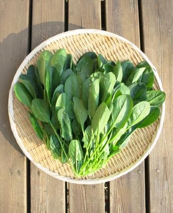 重曹は加熱すると炭酸ナトリウムになるのですが、この効果で緑黄色野菜を色鮮やかに茹であげることができますよ♪  《茹で方》 重曹(食用)ひとつまみを沸騰したお湯に入れて、小松菜やほうれん草などを茹でましょう。やわらかくなりすぎないよう、サッと短時間でゆでるようにしてくださいね♪
