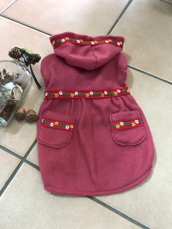 赤い花柄刺繍が女の子らしいドッグウェア。ワンちゃんだって、「かわいい!」って言われれば上機嫌♪