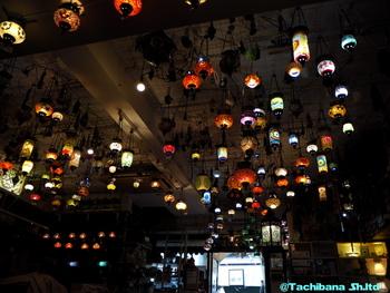 店内の天井には、びっしりとトルコランプが。ライトアップされた色とりどりのトルコランプは幻想的で、下町にいるのに異国に来たような、不思議な感覚になります。