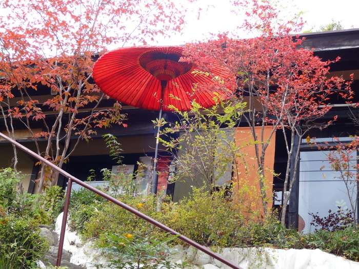 長瀞駅から宝登山方面にまっすぐ歩いて約5分、通りから少し高いところに見える真っ赤な番傘が目印の「やました」。下から見ると和の雰囲気。春は新緑、秋は紅葉に彩られています。