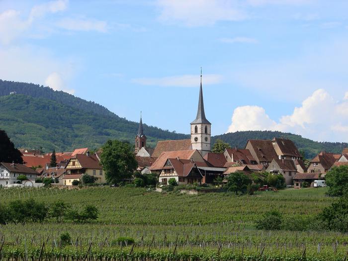 ミッテルベルグハイムは、小高い丘の上に囲まれた人口わずか700人弱の小さな村です。