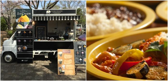 ■フードエリア コーヒー、カレー、お弁当やスイーツ。美味しいもので、ひと休み。 出店予定:『WISH FRESH SALAD』『野毛山カレー食堂』『コマデリ』『Siam change』『pizza van』『fuwari』『スタンデカフェ』『煮込屋赤ねこ』