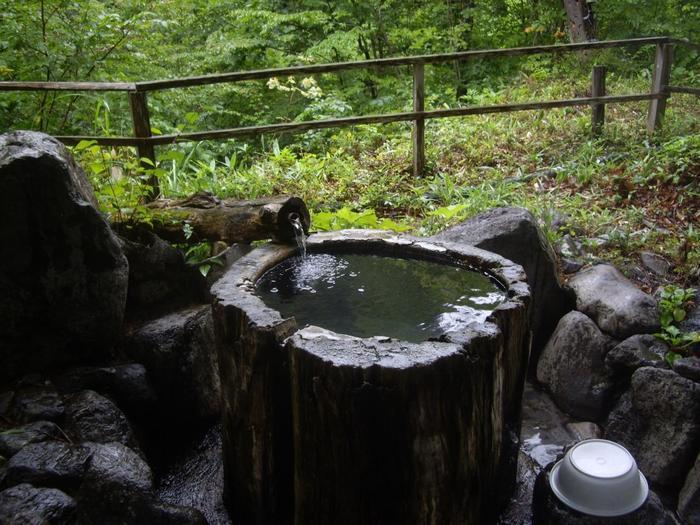"""こちらの名物「丸太風呂」は、""""栃""""の木の大丸太をくり抜いた野趣あふれるお風呂です。聞こえるのは鬼怒川の源流のせせらぎのみという開放感は、日常を忘れるにはぴったりですね。"""