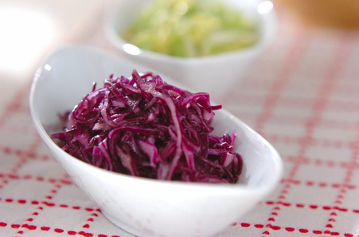 紫キャベツが美しいコールスロー。通常のキャベツで作ったコールスローと二色、食卓にならべて食感の違いを楽しんでみて!