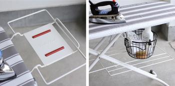 脇には、アイロン置台があり、すべり止めの耐熱シリコンキャップ付き。さらには、アイロン台の下に台が付いており、霧吹きなどの道具も置くことができるのでとても便利。使いやすさのためのアイデアがいっぱいです。