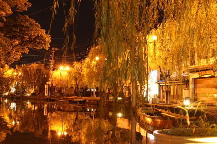 当日12:00までに予約すれば、夜も川下りができるんです。夜の柳川の街は昼とはまた違った趣のある雰囲気に。夜は貸切船限定。柳の幻想的な美しい風景のなか、昼とは違う静かな大人の舟旅を楽しんでみませんか?