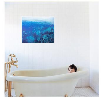 ご自宅のバスルームが狭かったり、殺風景だということに不満を感じているひともいるかもしれません。もっとバスルームに広がりと美しい風景をプラス出来るのが「お風呂に貼れるポスター」です。窓のようにお風呂に貼ることで、見慣れたバスルームがリゾートのような雰囲気に変身します。