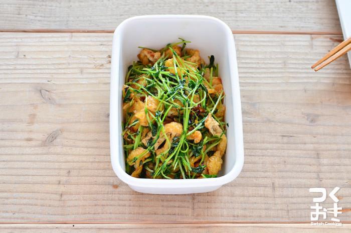 豆苗と油揚げのシンプル具材で、作り置きもできる便利なレシピ。 豆苗はカットした後のものでも新鮮な水につけておけば1~2回は再生するので、冷蔵庫に野菜がない!なんてときにもおすすめです。