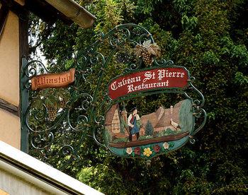 レストランの看板など、コルマールの街のいたるところでアルザス地方のシンボル・コウノトリを見つけることができます。また、空を飛んでいるところをしばしば見かけるのですが…。コウノトリの姿を実際目の当たりにすると、意外に大きくてびっくりしますよ。